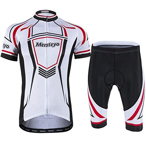 QZCLZD LCZZD Sommer Radtrikot Anzug Professionelle Rennbekleidung, Männer Sport Kurzarm Jersey Fahrradhose Atmungsaktiv Und Schnell Trocknende Kleidung,WhiteA,M -