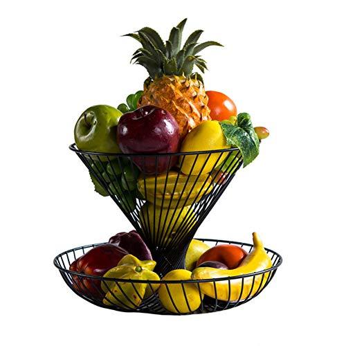 KEOA Obstkorb Metall, 2 Körbe Schmiedeeisen Obst Etagere Halter Moderne Obstschale für mehr Platz auf Ihrer Arbeitsplatte,Black