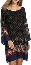 HOTOUCH Mujeres estilo bohemio Vintage impresión estilo étnico suelta vestido de túnica casual