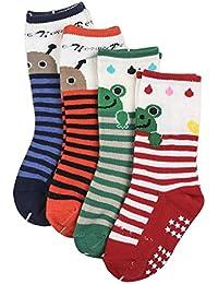 Happy Cherry - (Pack de 4 pares) Calcetines Zapatos Antideslizantes para bebés niños niñas 1-3 años - 12cm