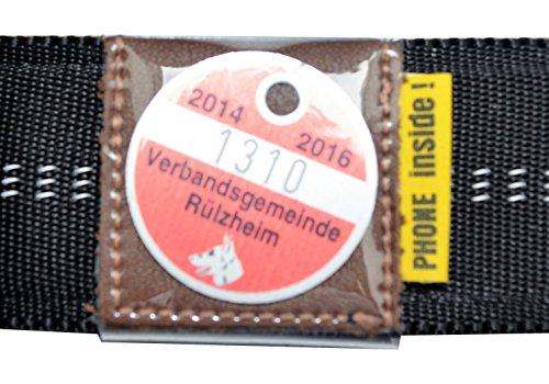Halsbandtasche für Hundemarken bis 28x28mm, Leder braun, für Halsbandbreite bis 30mm