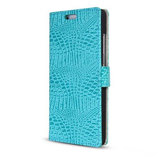 UKDANDANWEI Apple iPhone 6S / 6 Hülle Case - Nähen Ledertasche Etui - Krokodil Muster Structure Tasche mit Ständer für Apple iPhone 6S / 6 - Blau Grün