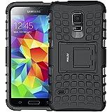 Galaxy S5 mini Funda, Funda S5 mini, Fetrim Proteccion Cáscara Cases delgada de golpes Doble Capa de Tough Armor Anti-Shock de soporte de Protectora para Samsung Galaxy S5 mini (Negro)