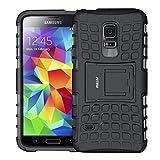 Galaxy S5 mini Hülle, S5 mini Schutzhülle, Fetrim Schlank Handyhülle Stoßfest Schutz TPU Doppelstruktur fall Harte Rüstung cover case schale für Samsung Galaxy S5 mini mit Ständer (Schwarz)