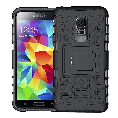 Galleria fotografica Custodia Galaxy S5 mini,Fetrim Cover Galaxy S5 mini, Protettiva Stand Case,Shock-Absorption Bumper Rugged Armor super protettiva Case per Samsung Galaxy S5 mini (Nero)