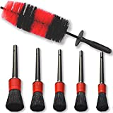 Juego de cepillo de limpieza para ruedas de coche y cepillo de llanta de cerdas suaves de 18 pulgadas largas y 5 tamaños diferentes Cepillos con detalles de pelo de