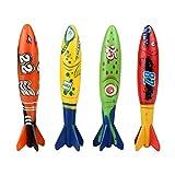 TOYMYTOY 4pcs toypedo bandits infantil juguete de juguete Toypedo bandidos piscina juguetes de buceo piscina submarina tiburón juguetes