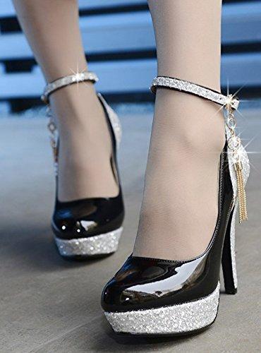 Aisun Femme Mode Plateforme Talon Aiguille Escarpins Noir