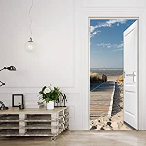 t rtapete beach door tt3 39 86cm x 200cm t r ausblick meer ozean strand d nen steg ocean way. Black Bedroom Furniture Sets. Home Design Ideas