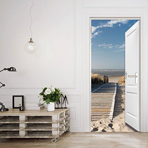 Preisvergleich Produktbild Türtapete ,,Beach Door TT3' 86cm x 200cm Tür Ausblick Meer Ozean Strand Dünen Steg Ocean Way Ostsee Nordsee Fototapete inklusiv Kleister
