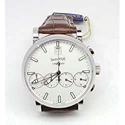 Men Eberhard 31042CP Automatic quandrante Steel White Leather Strap Watch