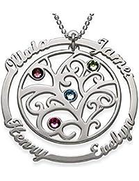 923be5c52834 ASD Jewerly Collar Mujer Plata Collar Collar del árbol de la Vida Familiar Nombre  Personalizado Colgantes de Piedras natales de Plata 925…