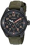 Citizen 'Military' quarzo Orologio casual, in acciaio INOX e nylon, colore: Verde (Model: BU2055–16E)