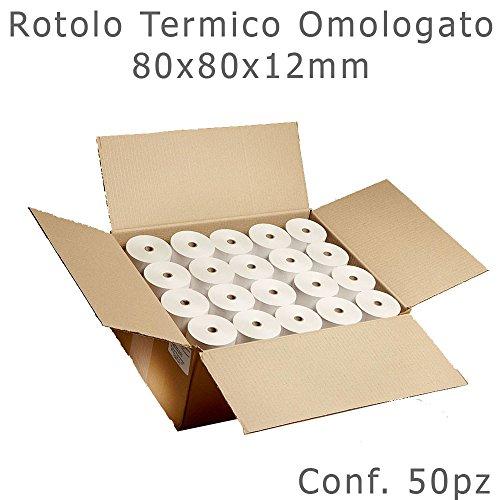 Rotolo termico 80x80mm anima da 12mm omologato per scommesse / stampanti comande / registratori di cassa / stampanti fiscali / pos conf. 50pz