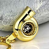 ONEVER Real Whistle Sound Turbo Keychain Rotation Pad Autoteil Modell Turbine Turboladers Schl¨¹sselanh?nger Ring -Golden