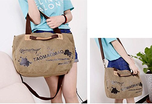 KISS GOLD Damen Umhängetasche Shopper Sac Bag Canvas, 40x35x15cm Khaki