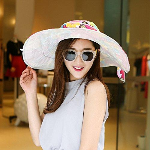 Upper-Protection Sun Hat version Corée Hat folding Beach vacances d'UV solaire jeunesse hats Sunflower white