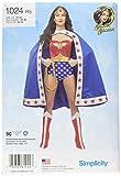 Simplicity Patrón 1024 R5 (14-16-18-20-22) Wonder Woman Disfraz de Mujer, Papel, Blanco, 22.04 x 15.04 x 1.04 cm