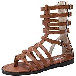La nueva tira delgada correa de calzado Xia Jiping zapatos inferiores sandalias romanas botas frescas cilindro hueco en el medio natural , brown , 39