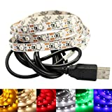 GOESWELL Warmes Weiß LED TV Hintergrundbeieuchtung USB DC5V LED LeIsten Strip Set Band Leiste Lichtleiste Licht Backlight (Warmes Weiß)