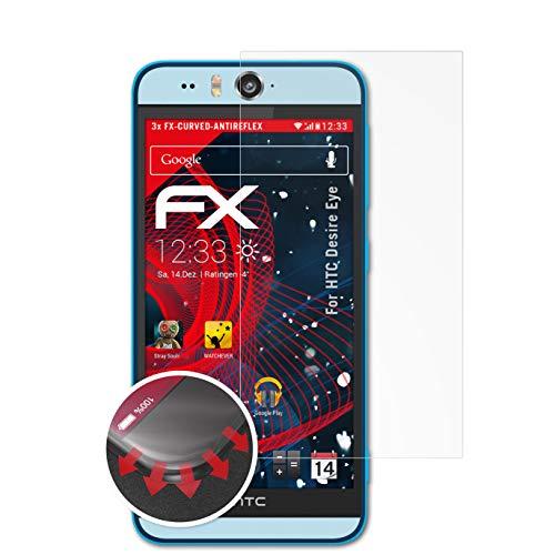 atFolix Schutzfolie passend für HTC Desire Eye Folie, entspiegelnde & Flexible FX Bildschirmschutzfolie (3X)
