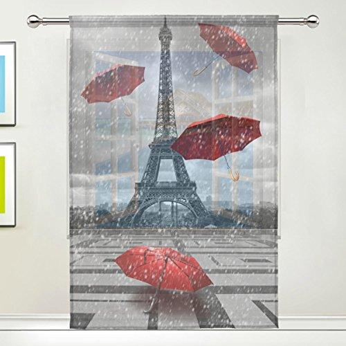 Use7 Vorhang, Romantischer Eiffelturm, durchsichtig, 139,7 x 19,8 cm, 1 Stück, Moderne Fensterbehandlung, Paneel-Kollektion für Wohnzimmer, Schlafzimmer, Heimdekoration
