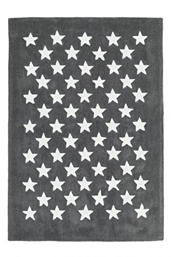 Kinderteppich dichtem Grau Flor Handgefertigt Look seidigem Sterne Motiv, Größe:120cm x 120cm