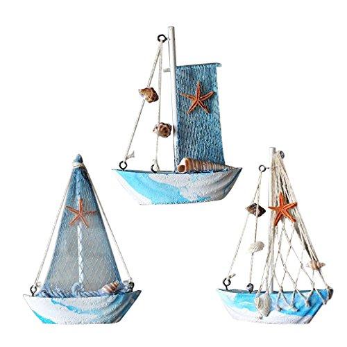 Sharplace 3 pezzi Stile Mediterranean Vela Di Nave Pesca Nautico Tropicale Soprammobili Decorazione Arredamento Casa
