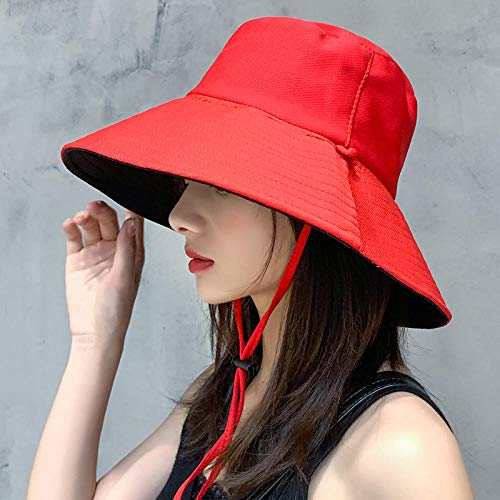 Sun Hat Fisherman Hat Female Summer Double-Sided Face Uv Protection Hat Sun Hat Visor@One Size Code (56-58Cm)_Red