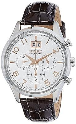Seiko Chronograph - Reloj de cuarzo para hombre, con correa de cuero, color marrón