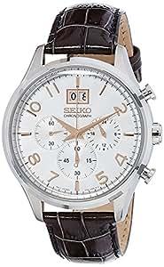 Seiko Men's Chronograph Quartz Watch with Leather Strap – SPC087P1
