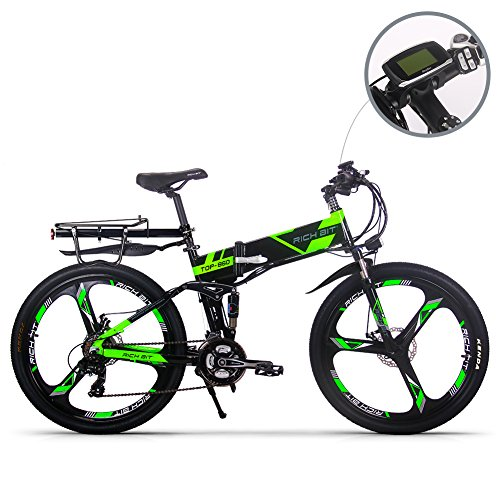 JIMAI RT-860 Mans Faltende Elektro-Bike, Mountain Hybrid Fahrrad Fahrrad Radfahren Dual Suspension, 250 Watt 36V 21 Geschwindigkeiten, Mit Fuß Bike Air Pump, einteiliges Montage-Tool Smart Bike