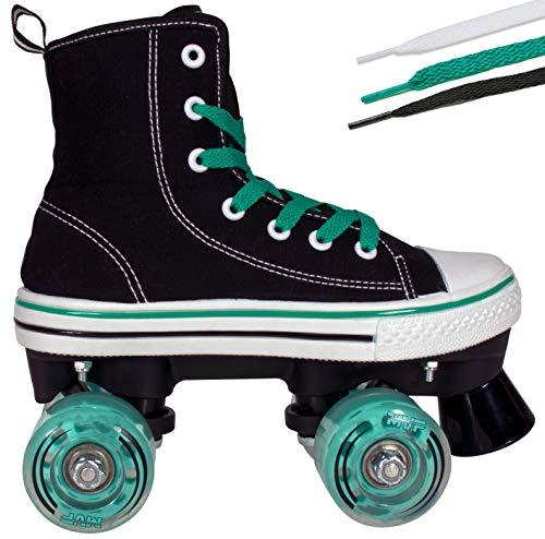 Lenexa Roller Skates für Mädchen und Jungen MVP Kid Unisex Quad Roller Skates mit hoher Spitzenschuh-Art für Innen / Außen 5 Black & Teal