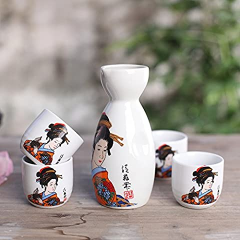 5 Piece Japanese Sake Cup Set Hand Painted Porcelain Pottery Traditional Ceramic Crafts Wine Cups with 1pcs 5.1