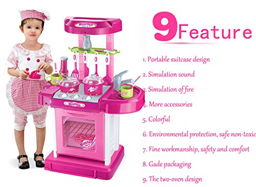 Dearbuy Portable Electronic Children Kids Kitchen Cooking Role Play Toy Cooker Play Game Set Pink