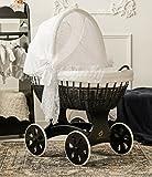 ComfortBaby ® HOME XXL Baby Stubenwagen mit Moskitonetz - komplette 'all inclusive' Ausstattung - Zertifiziert & Sicher (Schwarz-Weiß)