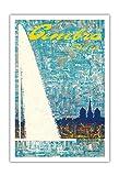 Pacifica Island Art Genf, Schweiz - Brunnen - Vintage Retro Poster Tourismus von Fernando Correta c.1968 - Kunstdruck - 76cm x 112cm