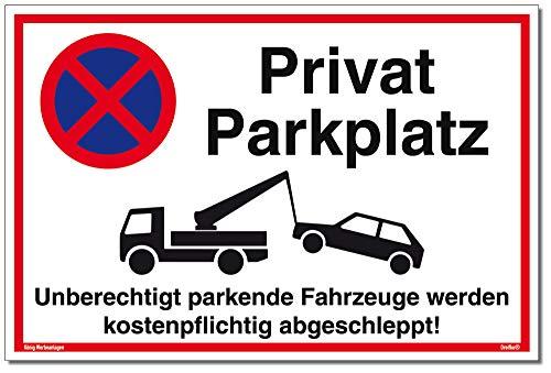 Schild Privat Parkplatz | 30 x 20 cm | Unberechtigt parkende Fahrzeuge Werden kostenpflichtig abgeschleppt! weiß | stabiles Alu Schild mit UV-Schutz | Parkverbot | Dreifke® - Parkplatz Schild