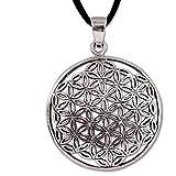 Anhänger Blume des Lebens Amulett Talisman Silber - Harmonie - mit Lederband Schmucksäckchen und Karte - 5621