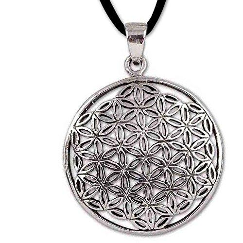 DarkDragon Anhänger Blume des Lebens 925er Silber mit Lederband Schmucksäckchen und Karte - 5621
