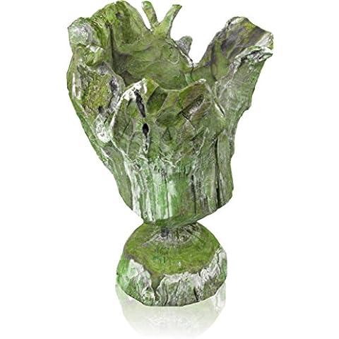 Rustico vaso decorativo supporto in legno radice con Frosted Verde–ca. 25x 25x 35cm