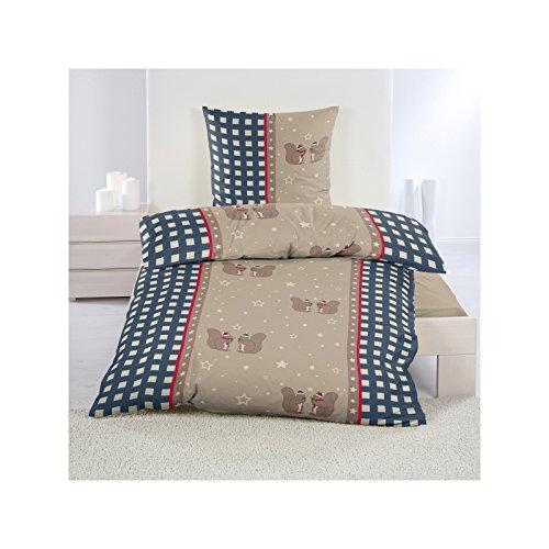 Luxus Biber Bettwäsche mit Eichhörnchen 135x200 cm Sparpack 2 oder 4-teilig Bettgarnitur aus 100% Baumwolle Beige Blau, Set-Größe:4-teiliges Set