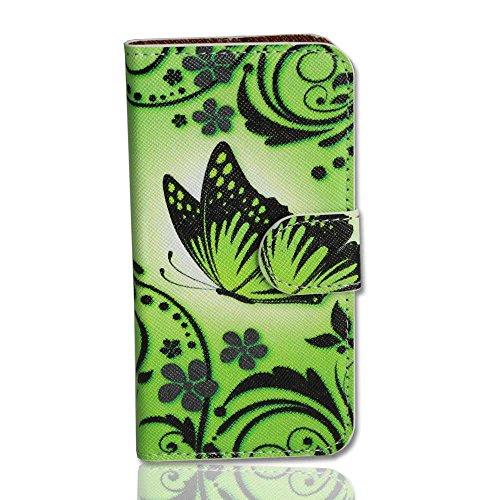 Handy Tasche Case book für Huawei Ascend Y300 / Hülle Etui Handytasche Schutzhülle butterfly neongrün