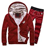 Riou Herren Strickjacke Cardigan Beiläufige DünneStrickpullover mit Kapuze Kapuzenpullover Pullover Männer Hoodie Winter warme Fleece Zipper Sweater Jacke Outwear Mantel (L, Rot Set)