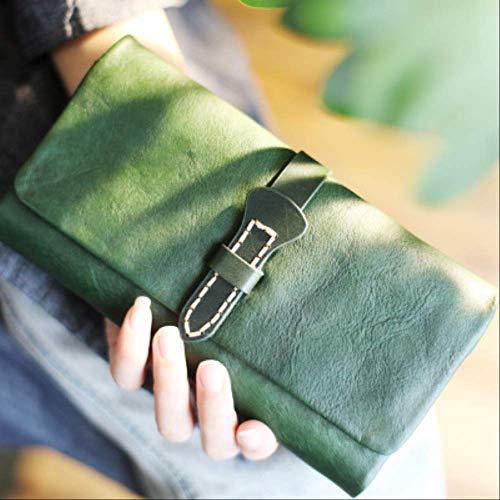 Kunst BrieftascheHaltenLanger Abschnitt Retro Vintage Leder Leder Umschlag Vintage Brieftasche9x19cm 2 -