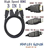 Marley Hudson Full HD High Speed 3 In 1 HDMI TO HDMI Mini HDMI Micro HDMI (Not Micro Usb) Cable Gold Plating Adapter - Black