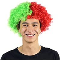 Peluca Afro colorida para fans de fútbol Pedazo de cabello para la Copa Mundial Accesorios de