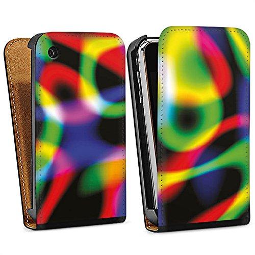 Apple iPhone 4 Housse Étui Silicone Coque Protection Laser Lumière couleurs Sac Downflip noir
