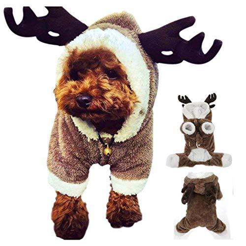 LOTONJT Weihnachten Rentier Hundebekleidung,Pet Kleidung Puppy Jumpsuit, Rentier Hirsch Elch Design Hund Pullover Haustier Kostüm Welpen Trikots Mantel für Teddy, Yorkshire Terrier (XL)