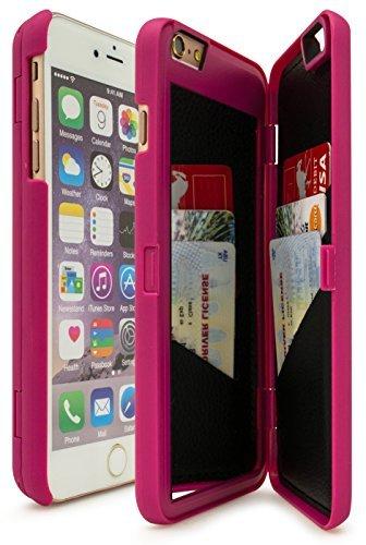 Hülle von Bastex für iPhone 6Plus/6S Plus mit integriertem Kartenhalter, Spiegel und Standfunktion, 14cm (5,5Zoll) rosa hot pink